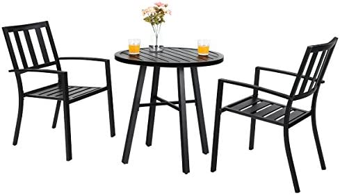 PHI VILLA Outdoor Patio Metal 3 Piece Dining Bistro Furniture Set with 2 x Chair,1 x Table