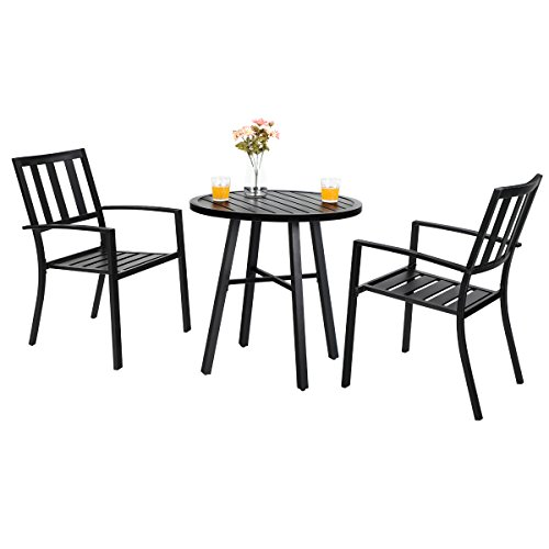 Sets Outdoor Bistro - PHI VILLA Outdoor Patio Metal 3 Piece Bistro Furniture Set with 2 x Chair,1 x Table