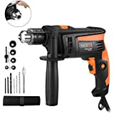 TACKLIFE Hammer Drill, 1/2-Inch Electric Drill, 12 Drill Bit Set, 2800 RPM, Variable-speed Trigger, 360° Rotating Handle, For Brick, Wood, Steel, Masonry - PID01A