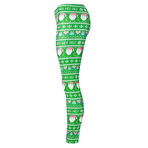 MAYUAN520 Collants de Noël Père Noël Cosplay Legging Pantalon Slim Legins Impression
