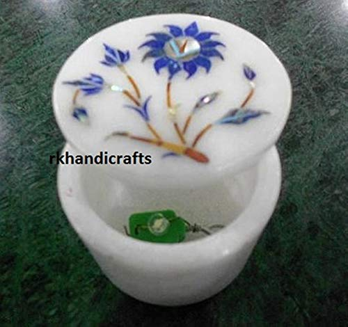 rkhandicrafts Rounded Marble Ring Box Pin Box Accessories Box Lapis Lazuli with Floral Design Inlay Art Work 2.5 Inches Diameter