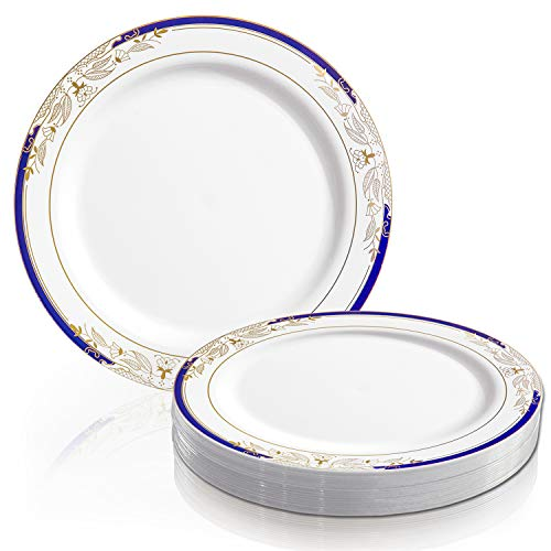 (Elegant Disposable Plastic Dinner Plate Set - Heavy Duty Round White with Blue & Gold Reusable Dinner Plates For Wedding, Christmas, Thanksgiving, Birthday & Other Occasions - 120 Plastic Party Plates)