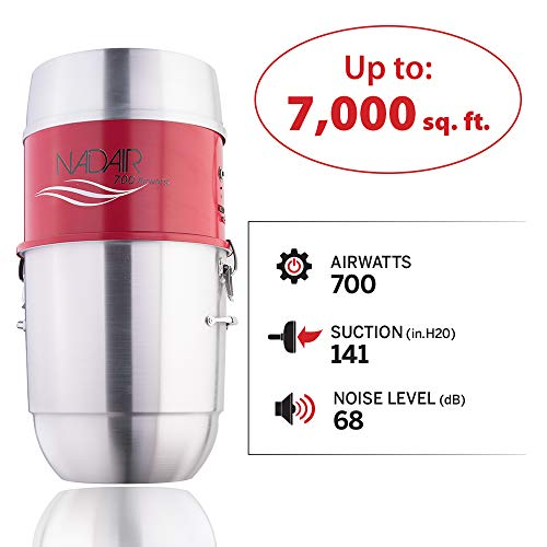 Nadair NADAIR-700-AL-22 Central Vacuum Power Unit, Red and Silver