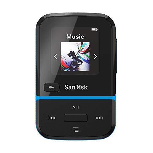 SanDisk 32GB Clip Sport Go MP3 Player, Blue - LED Screen and FM Radio - SDMX30-032G-G46B