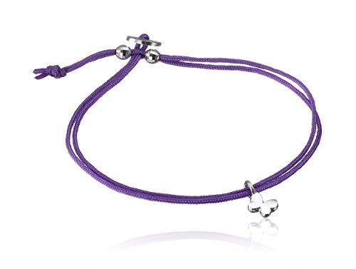 Alex Woo ''Mini Cord Bracelet'' Purple with Sterling Silver Mini Butterfly Bracelet by Alex Woo