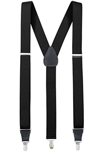 Hold'Em Suspender for Men Made in USA Y-Back Genuine Leather Crosspatch Clip on tuxedo suspenders-Black (Regular - 46
