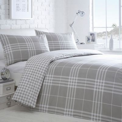 Debenhams Home Collection Basics Grey Checked 'Hugo' Bedding Set