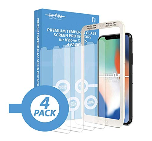 Beam Electronics Screen Protector for iPhone X,XS,11 Pro (4 Pack) Tempered Glass Screen Protector with Advanced Clarity [3D Touch] Works w/Most Cases 99% Touch Accurate-4 Replacement Screen Protectors