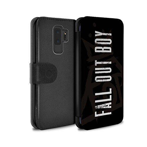 STUFF4 PU Leather Wallet Flip Case/Cover for Samsung Galaxy S9 Plus/G965/Pyramid Crown/Black Design/FOB Band Logo Collection