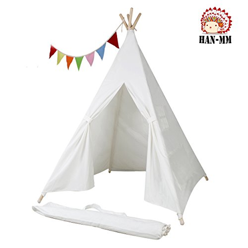 HAN-MM Kids Foldable Teepee Play Tent White One Four Ploes Style