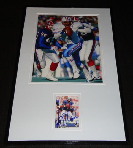 - Warren Moon Signed Framed 11x17 Photo Display Oilers