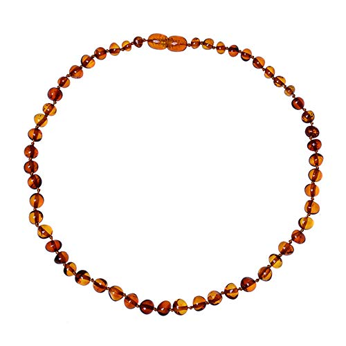 Alician Baby Kids Amber Necklace Teething Irregular Amber Necklace Pain Reduce fire Amber