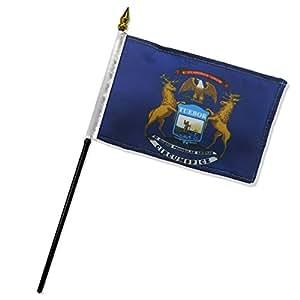 """Calidad estándar banderas una docena de Michigan bandera Stick, 4por 6"""""""