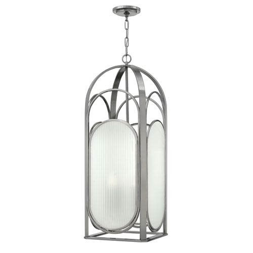 Hinkley 3885BN Transitional Four Light Foyer from Astor collection in Pwt, Nckl, B/S, (Astor Four Light)