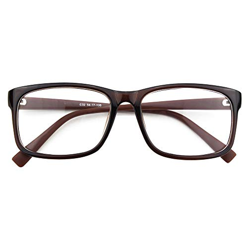 Happy Store CN12 Casual Fashion Basic Square Frame Clear Lens Eye - Lens Brown Plastic