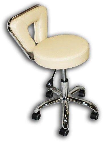 Spa Pedicure Chair Stool for Nail, Hair, Facial Technician (Tall, Creme)