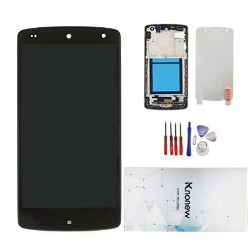 KNONEW Compatible for LG Google Nexus 5 D820 D821 Glass LCD Display Touch Screen Digitizer Assembly Frame Replacement (Black) (Resolution: 1920x1080)
