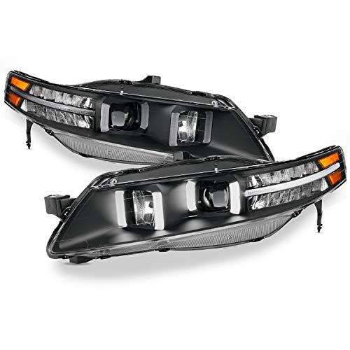 For 07-08 Acura TL UA7 LED DRL Black Bezel Projector Headlights Front Headlamps Set Left + Right