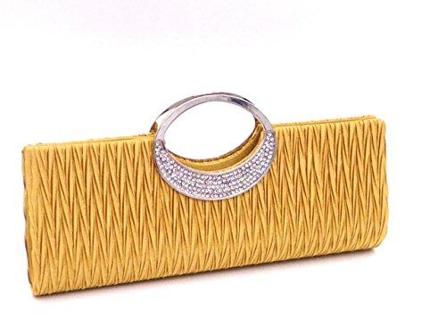 Pleated Party Luxury Wedding Rhinestone Purse Clutch BeAllure Women's Gold Satin gYWwqxHWI5