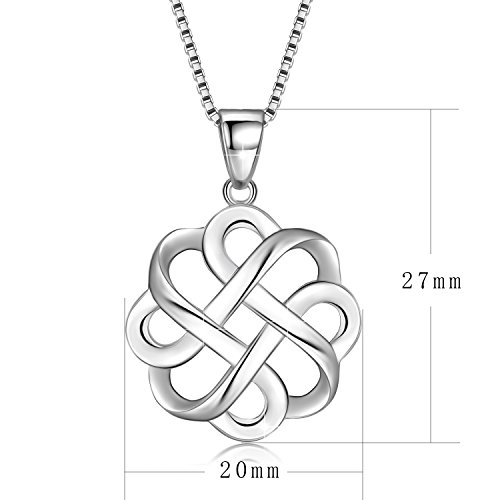 JUFU 925 Sterling Silver Good Luck Polished Celtic Knot Cross Pendant Necklace For Womens (Silver) (Celtic knot A) by JUFU (Image #2)