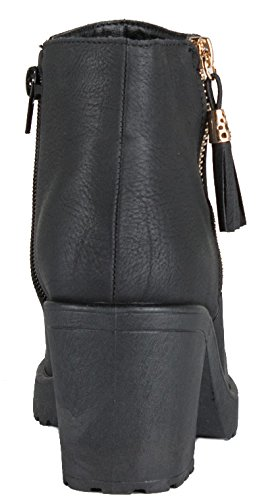 SIZE BOOTIES C Leather HEEL PLATFORM 3 Faux WINTER HEELED BLOCK Black ANKLE MID Style HIGH LADIES BOOTS 8 WOMENS CHELSEA wqHXa77