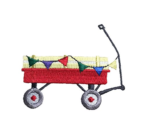 Little Red Wagon - Colorful Flags - Toys - Iron on Applique/Embroidered Patch