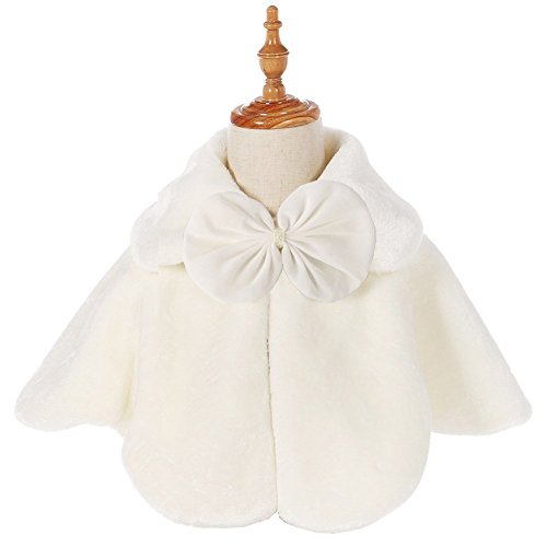 Fankeshi Ivory Flower Girl Faux Fur Shawl Wraps Cape Kids Wedding Communion M