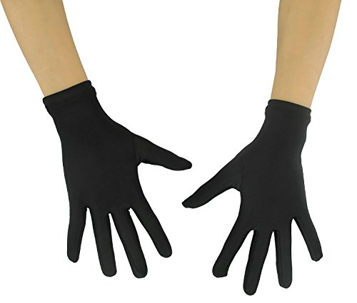 Ensnovo Adult Wrist Length Lycra Spandex Full Finger Stretchy Short Gloves Black M -