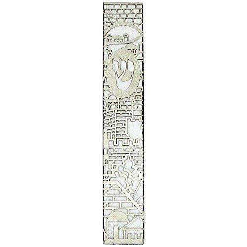 Judaica Mezuzah Case Aluminum Jerusalem View Decorated Cut Off Plate 12 cm by Collecting Trends