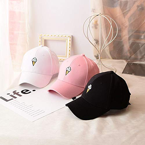 Mens Womens Couple Peaked Caps Hip Hop Curved Snapback Fresh Cute Icecream Baseball Caps Adjustable Cotton Washed Hat (Pink) by Aurorax Hat (Image #7)