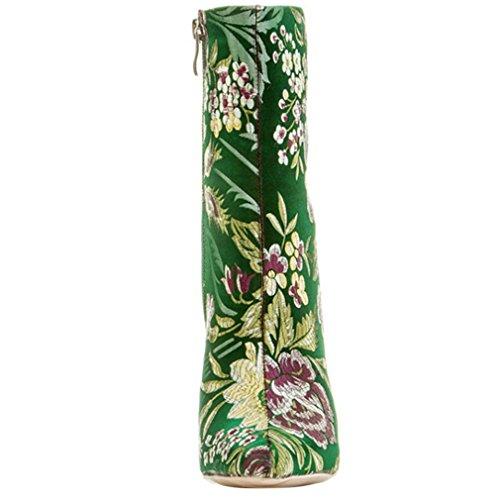 ENMAYER Zapatos de satén para mujer delgados tacones altos Botines de punta y del tobillo con punta en invierno Verde