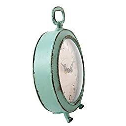 NIKKY HOME Vintage Metal Round Table Clock with Handle and Dragon Feet Stand for Home Living Room Bedroom Decor 5.6\'\' by 2.2\'\' by 7.5\'\', Distressed Aqua Blue