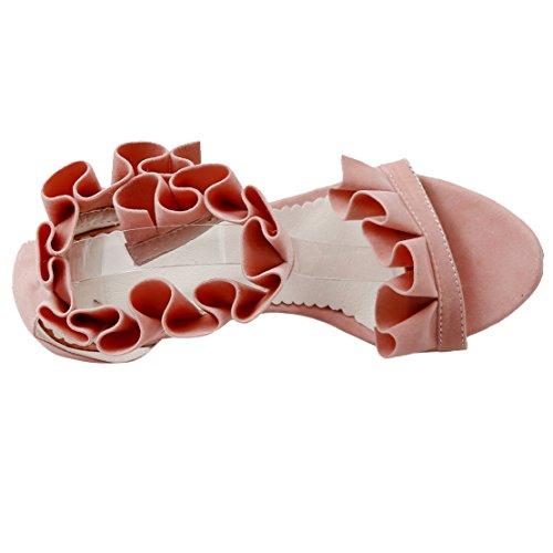 AIYOUMEI Tira de Tobillo de Terciopelo Mujer Rosa