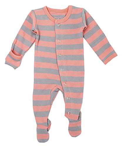 L'ovedbaby Unisex-Baby Organic Cotton Footed Overall (3-6 Months, Coral/Light Gray Stripe) ()