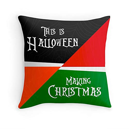 Zoeleng Throw Pillow 18x18 Cover Nightmare Before Christmas Halloween Red Green Tim Burton Spider Web Movie Quote Decor Pillowcase -