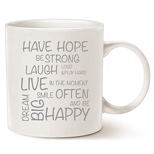 MAUAG Funny Inspirational Coffee Mug Christmas Gifts - Have Hope Be Strong Typography Motivational Quote Ceramic Cup White, 14 Oz