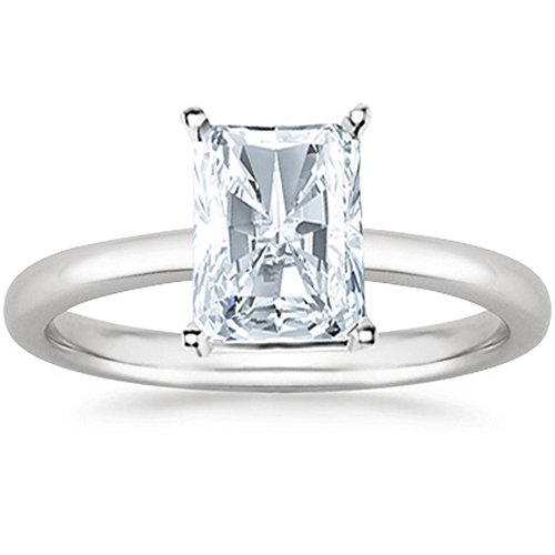 3 Ct Radiant Cut Solitaire Diamond Engagement Ring 14K White Gold (J Color SI1 Clarity) (Radiant Solitaire Diamond Si1)