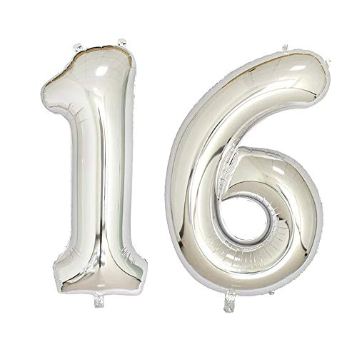 40 inch Jumbo Silver Number Balloons for Birthday Party, Anniversary Decoration ... (Silver16)]()