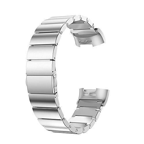 Littleice Fitbit Charge 3 交換用ステンレススチールブレスレット スマートウォッチバンドストラップ 135-208mm シルバー For Fitbit Charge 3