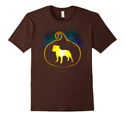 Costumes Staffies In (Mens Staffordshire Bull Terrier Pumpkin Funny Halloween T-Shirt XL)