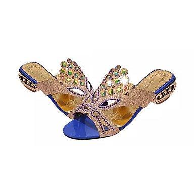 RTRY Zapatillas De Mujer &Amp; Flip-Flops Comodidad Verano Vestido Pu Chunky Talón Talón Crystal Crystal / Negro / Azul / Verde Otros US6 / EU36 / UK4 / CN36