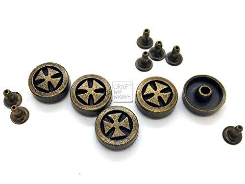 CRAFTMEmore 10 Sets 14MM Antique Brass, Bronze Cross Rapid Rivet Leathercraft Studs Decorative Accessories for Bag Belt Clothes (Antique Brass)