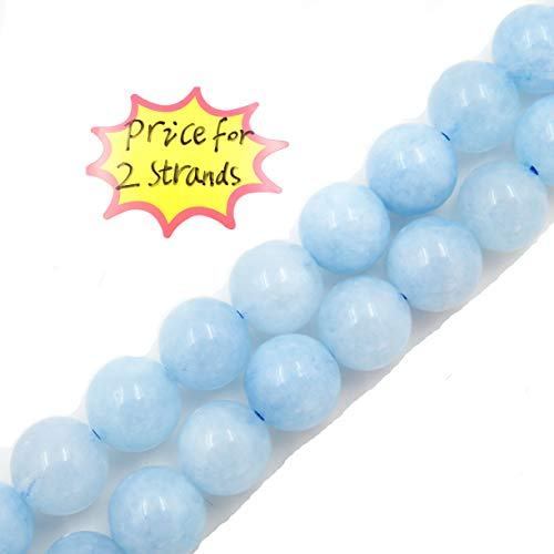 Malahill Precious Gemstone Beads for Jewelry Making, 100% Natural AAA Grade, Sold per Bag 2 Strands Inside (Aquamarine, 8mm)