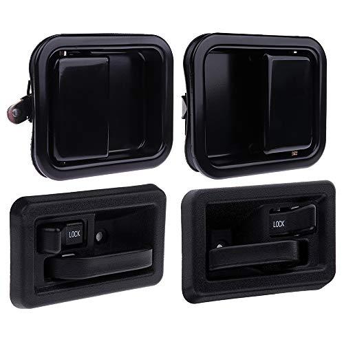 LUJUNTEC Exterior Interior Door Handles Front Driver Passenger Side Replacement for 1997-2004 Jeep Wrangler Black(4pcs) (Wrangler Jeep 2002 Handles Door)