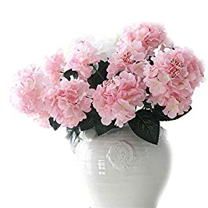 """Crt Gucy Artificial Flowers 18"""" Silk 6 Big Heads Fake Silk Hydrangea Bouquet for Wedding, Room, Home, Hotel, Party Decoration, Pink 14"""