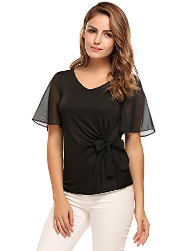 Meaneor Chiffon Sleeve Blouse Casual