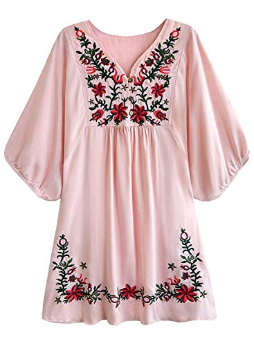 Futurino Women's Bohemian Embroidery Floral Tunic Shift Blouse Flowy Mini Dress,Pink,Small ()