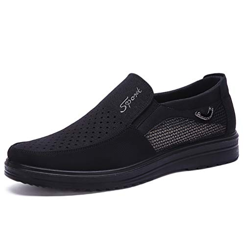 COSIDRAM Men's Slip-On Loafer Casual Driving Shoes Summer Breathable Canvas Comfortable Lightweight Great Travel Walking Cloth Shoes for Adult Hollow Out Male Black Grey Brown Plus Size