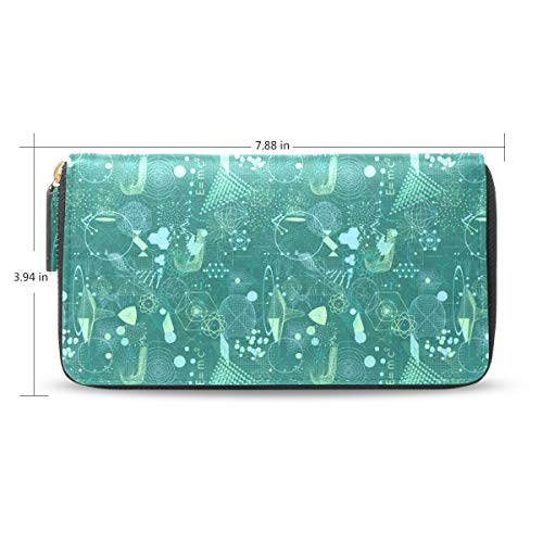 Women Cool Science Line Gift Green Leather Wallet Large Capacity Zipper Travel Wristlet Bags Clutch Cellphone Bag