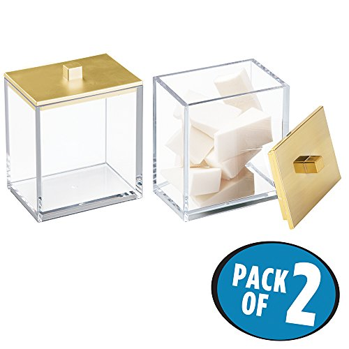 mDesign Bathroom Vanity Storage Organizer Canister Jars for Q tips, Cotton Swabs, Cotton Rounds, Cotton Balls, Makeup Sponges, Bath Salts - Pack of 2, Clear/Brushed Gold